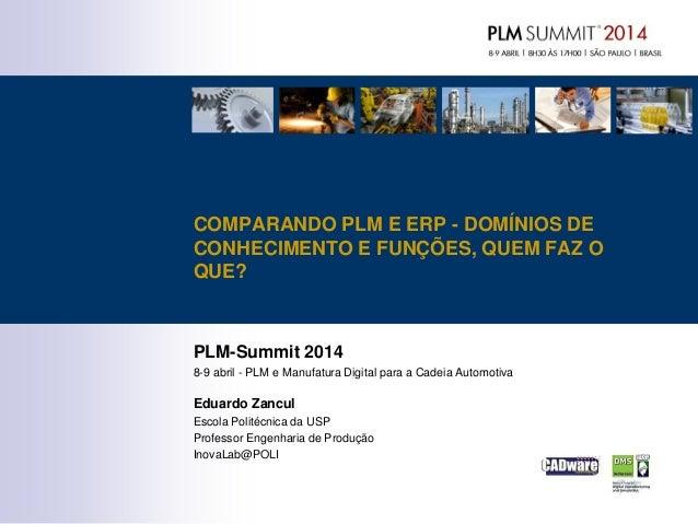 PLM-Summit 2014 8-9 abril - PLM e Manufatura Digital para a Cadeia Automotiva Eduardo Zancul Escola Politécnica da USP Pro...