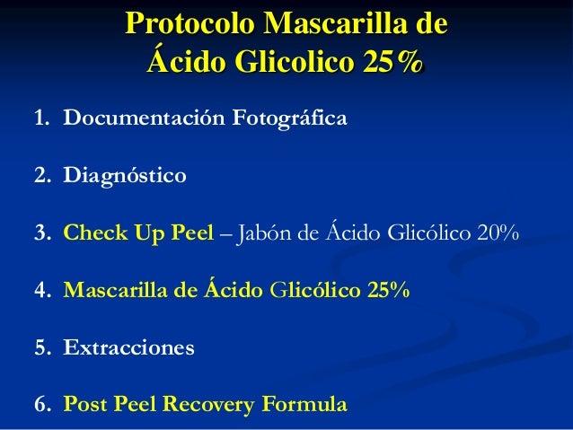 Protocolo Mascarilla de  Ácido Glicolico 25%  Check Up Peel  1. Aplicar el Check Up Peel seco en toda la cara seca (sin ag...