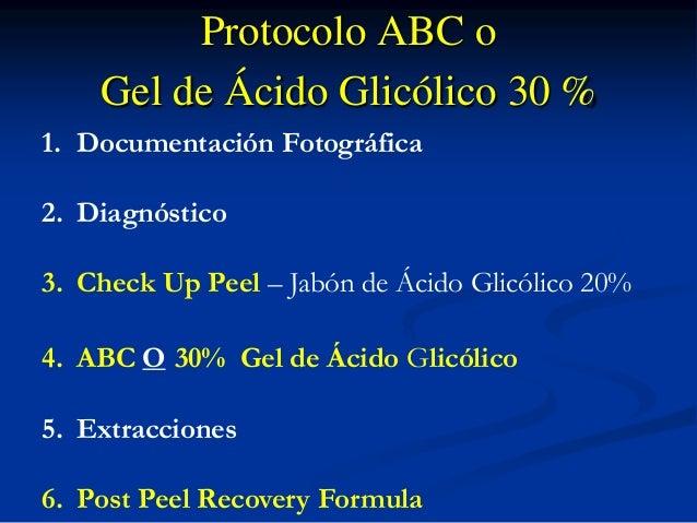 Protocolo ABC o  Gel de Ácido Glicólico 30 %  1. Documentación Fotográfica  2. Diagnóstico  1. Check Up Peel - Glycolic Ac...