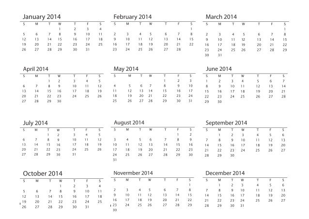 2014 Printable Calendar A4 Size Promotional Products Blank Template