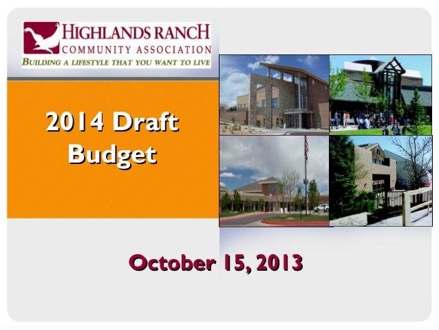 2014 Draft Budget  October 15, 2013
