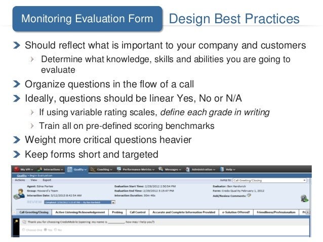 call monitoring template - roundtable best practices quality assurance analytics