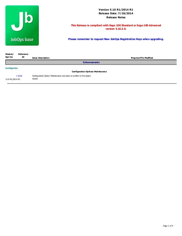 Version 5.10 R1/2014 R1 Release Date: 7/18/2014 Release Notes This Release is compliant with Sage 100 Standard or Sage 100...