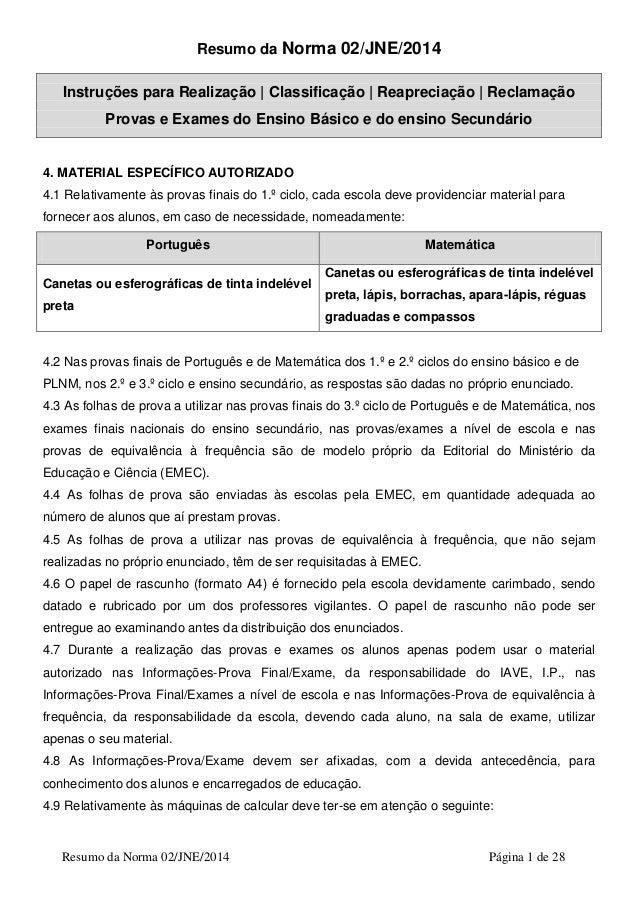 Resumo da Norma 02/JNE/2014 Página 1 de 28 Resumo da Norma 02/JNE/2014 Instruções para Realização | Classificação | Reapre...