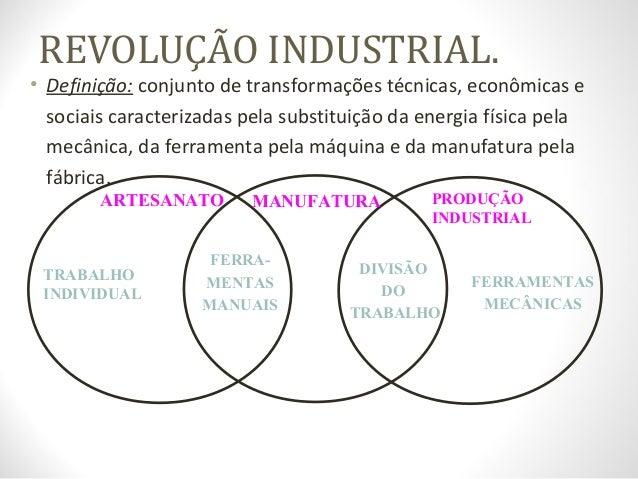 REVOLUÇÃO INDUSTRIAL. • Definição: conjunto de transformações técnicas, econômicas e sociais caracterizadas pela substitui...