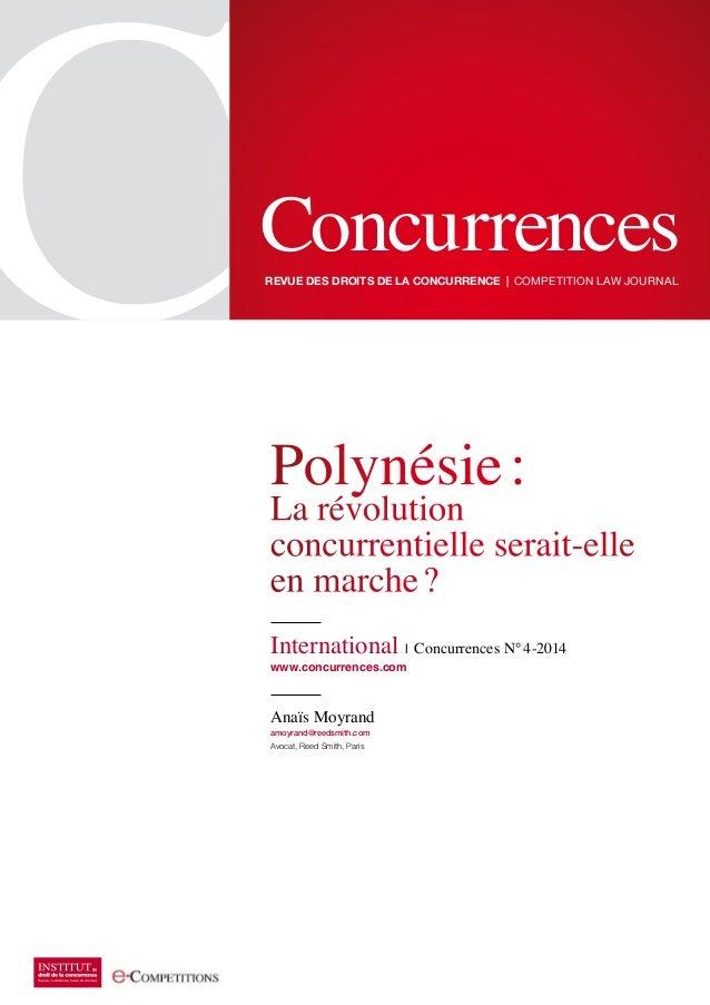 ConcurrencesRevue des dRoits de la concuRRence | Competition Law JournaL Polynésie: La révolution concurrentielle serait-e...