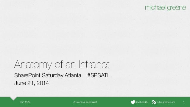 mike-greene.com@webdes03 Anatomy of an Intranet SharePoint Saturday Atlanta #SPSATL June 21, 2014 6/21/2014 Anatomy of an ...