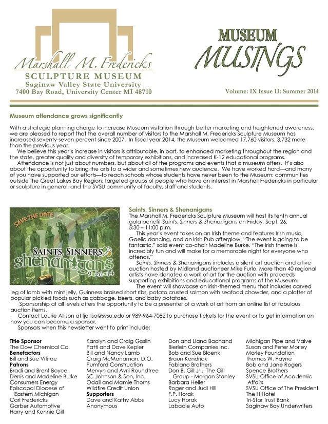 MUSEUM  / m/; yzâ/ /M 5,7427; 12X  SCULPTURE MUSEUM Saginaw Valley State Ilniversity 7400 Bay Road,  Llnivcrsity Center MI...