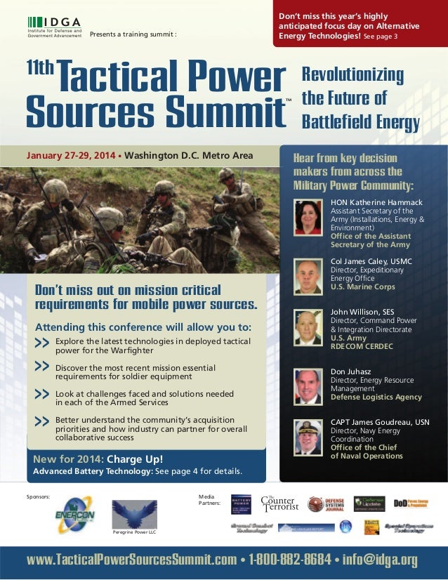 Revolutionizing the Future of Battlefield Energy Presents a training summit : Tactical Power11th Sources Summit TM January...