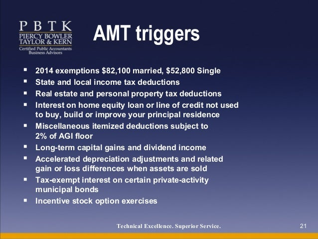 Amt adjustment for exercising stock options