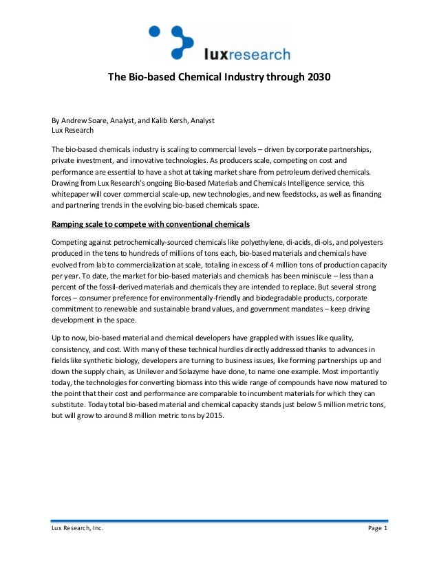 Lux Research, Inc. Page 1 The Bio-based Chemical Industry through 2030 By Andrew Soare, Analyst, and Kalib Kersh, Analyst ...