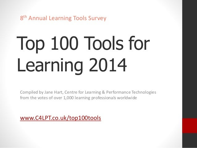 8th Annual Learning Tools Survey  Top 100 Tools for  Learning 2014  Compiled by Jane Hart, Centre for Learning & Performan...