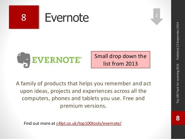 Evernote  A family of products that helps you remember and act  upon ideas, projects and experiences across all the  compu...