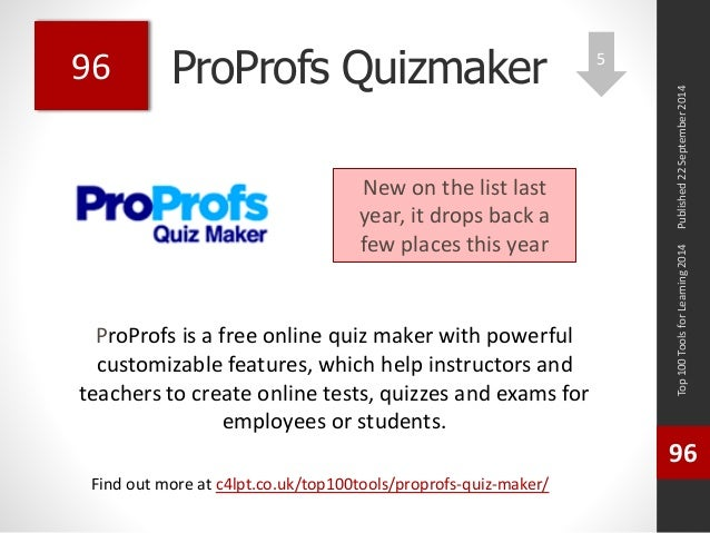 ProProfs Quizmaker  ProProfs is a free online quiz maker with powerful  customizable features, which help instructors and ...