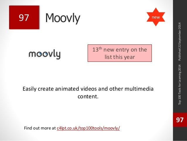 Moovly  Easily create animated videos and other multimedia  content.  Published 22 September 2014  Top 100 Tools for Learn...