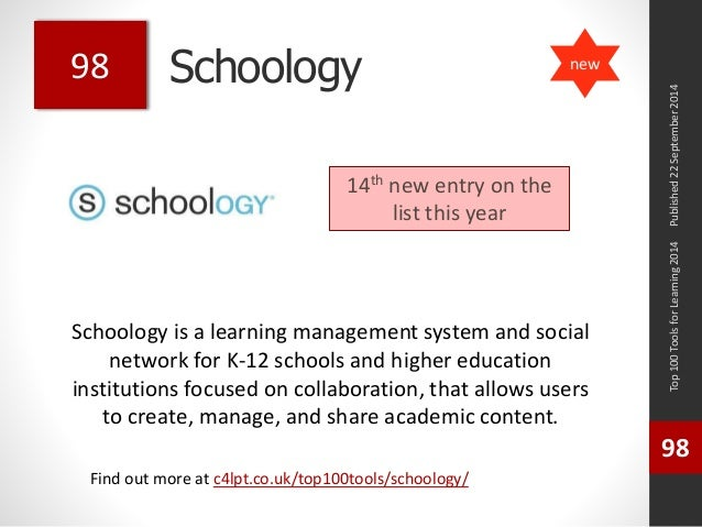 Schoology  Schoology is a learning management system and social  network for K-12 schools and higher education  institutio...