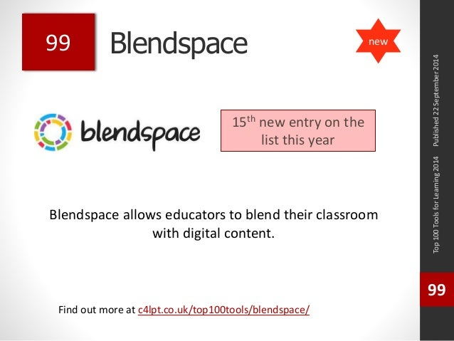 Blendspace  Blendspace allows educators to blend their classroom  with digital content.  Top 100 Tools for Learning 2014  ...