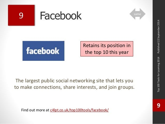 Facebook  The largest public social networking site that lets you  to make connections, share interests, and join groups. ...