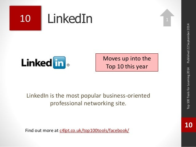 LinkedIn  LinkedIn is the most popular business-oriented  professional networking site.  Top 100 Tools for Learning 2014  ...