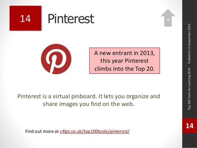 Pinterest  Pinterest is a virtual pinboard. It lets you organize and  share images you find on the web.  Top 100 Tools for...
