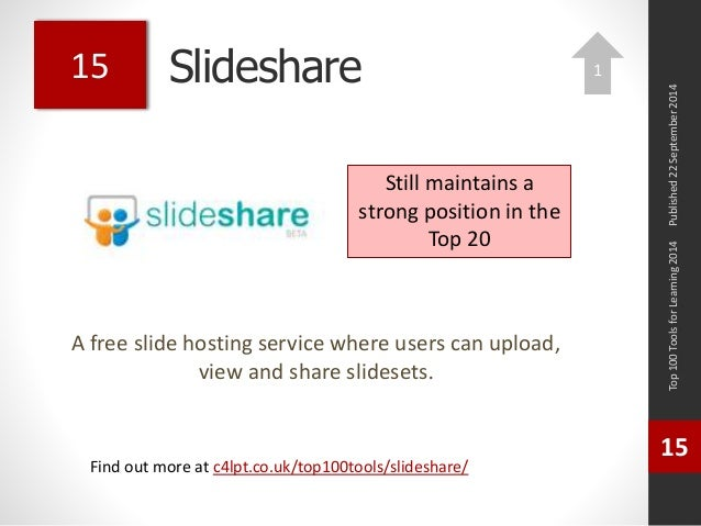 Slideshare  A free slide hosting service where users can upload,  view and share slidesets.  Top 100 Tools for Learning 20...