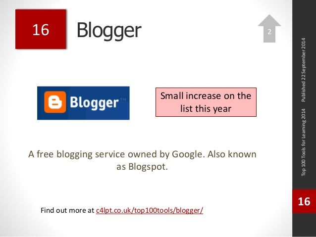 Blogger  A free blogging service owned by Google. Also known  as Blogspot.  Published 22 September 2014  Top 100 Tools for...