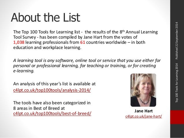 About the List  The Top 100 Tools for Learning list - the results of the 8th Annual Learning  Tool Survey - has been compi...