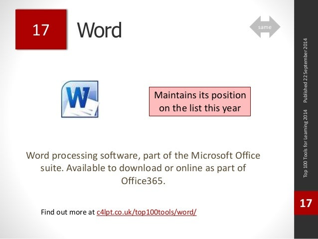 Word  Word processing software, part of the Microsoft Office  suite. Available to download or online as part of  Office365...