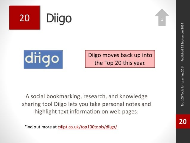 Diigo  A social bookmarking, research, and knowledge  sharing tool Diigo lets you take personal notes and  highlight text ...