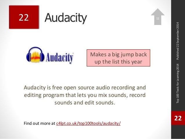 Audacity  Audacity is free open source audio recording and  editing program that lets you mix sounds, record  sounds and e...