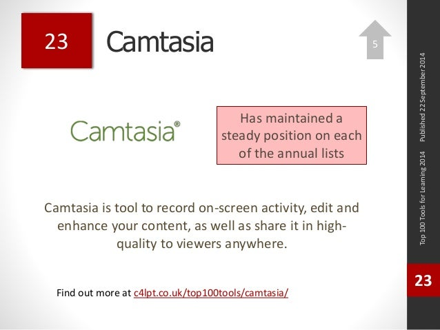 Camtasia  Camtasia is tool to record on-screen activity, edit and  enhance your content, as well as share it in high-quali...