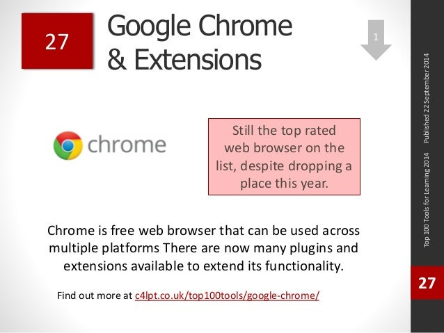 Google Chrome  & Extensions  Chrome is free web browser that can be used across  multiple platforms There are now many plu...