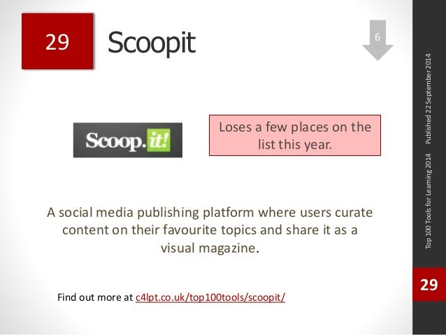 Scoopit  A social media publishing platform where users curate  content on their favourite topics and share it as a  visua...
