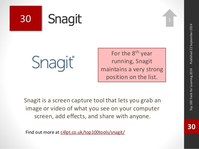 Snagit  Snagit is a screen capture tool that lets you grab an  image or video of what you see on your computer  screen, ad...