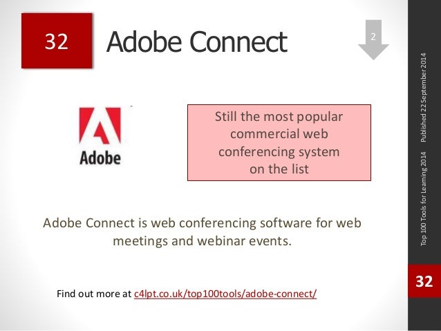 Adobe Connect  Adobe Connect is web conferencing software for web  meetings and webinar events.  Top 100 Tools for Learnin...