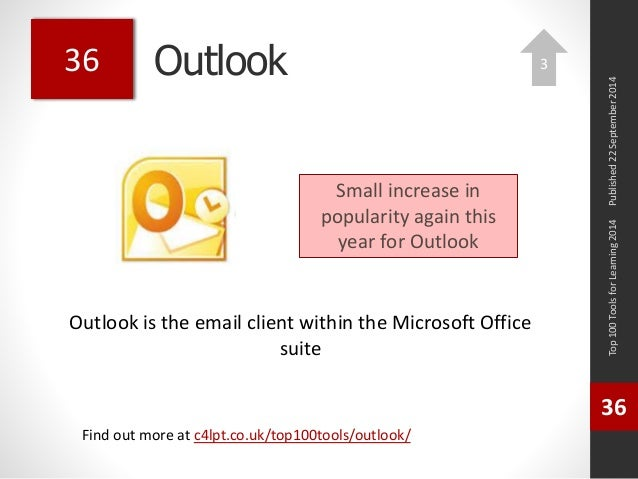 Outlook  Outlook is the email client within the Microsoft Office  suite  Top 100 Tools for Learning 2014  36  Find out mor...