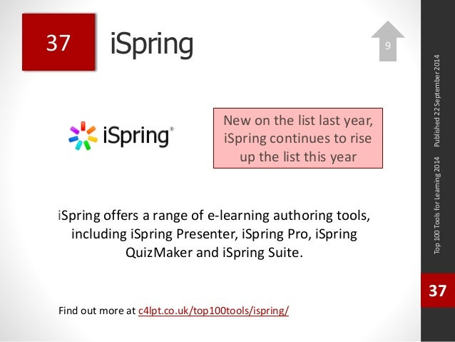iSpring  iSpring offers a range of e-learning authoring tools,  including iSpring Presenter, iSpring Pro, iSpring  QuizMak...