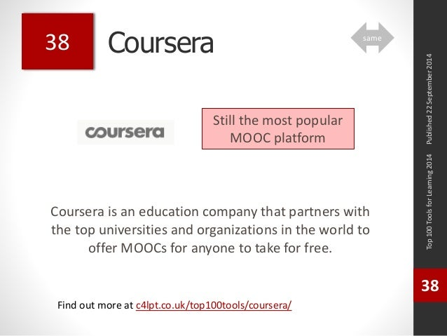 Coursera  Coursera is an education company that partners with  the top universities and organizations in the world to  off...
