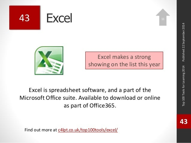 Excel  Excel is spreadsheet software, and a part of the  Microsoft Office suite. Available to download or online  as part ...