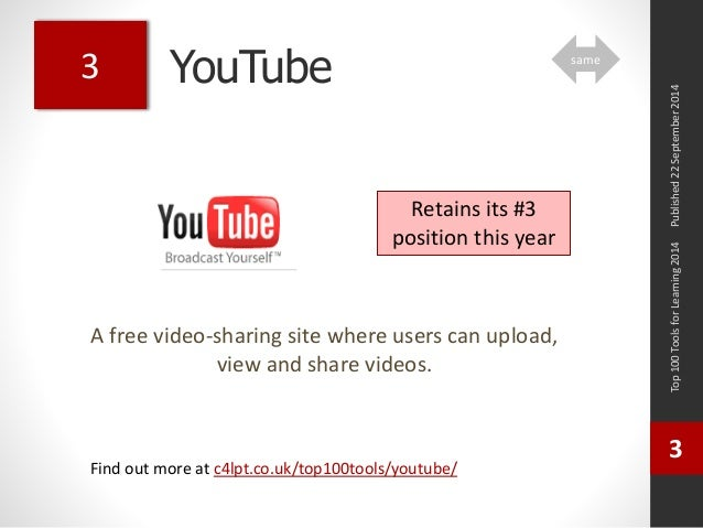 YouTube  A free video-sharing site where users can upload,  view and share videos.  Top 100 Tools for Learning 2014  3  Fi...
