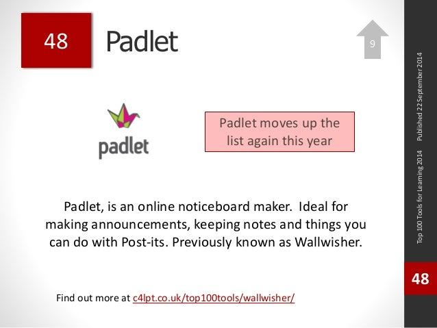 Padlet  Padlet, is an online noticeboard maker. Ideal for  making announcements, keeping notes and things you  can do with...
