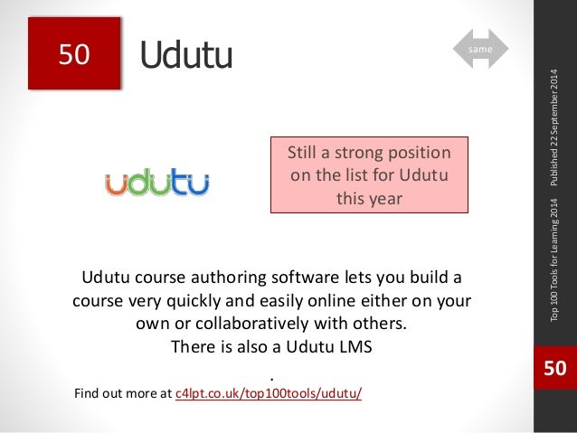 Udutu  Udutu course authoring software lets you build a  course very quickly and easily online either on your  own or coll...