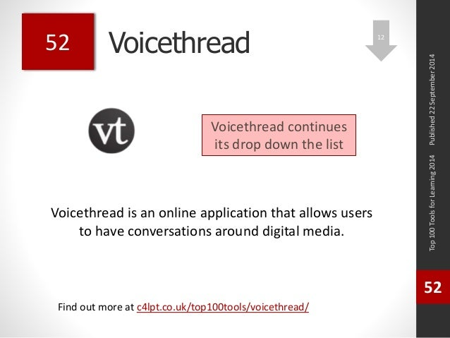 Voicethread  Voicethread is an online application that allows users  to have conversations around digital media.  Top 100 ...