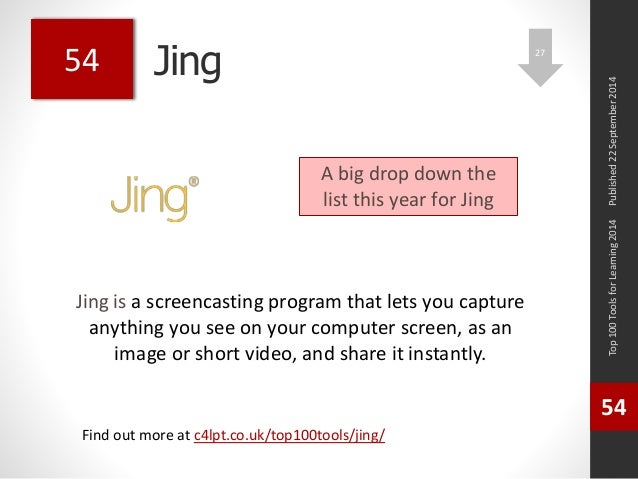 Jing  Jing is a screencasting program that lets you capture  anything you see on your computer screen, as an  image or sho...