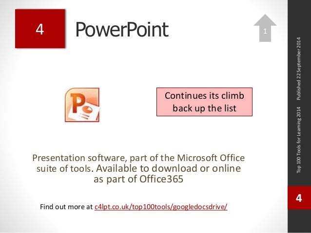 PowerPoint  Presentation software, part of the Microsoft Office  suite of tools. Available to download or online  as part ...