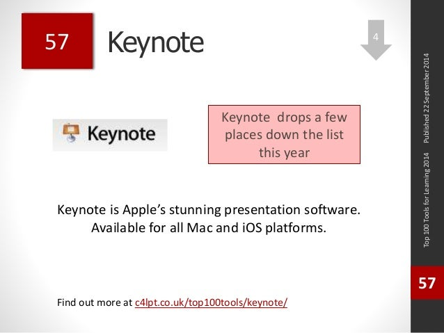 Keynote  Keynote is Apple's stunning presentation software.  Available for all Mac and iOS platforms.  Top 100 Tools for L...