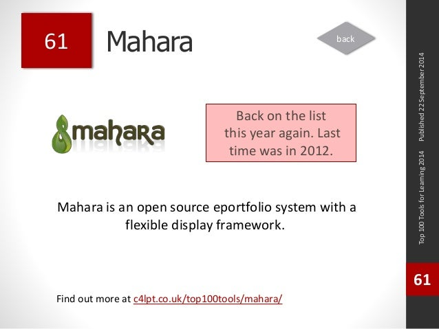 Mahara  Mahara is an open source eportfolio system with a  flexible display framework.  Top 100 Tools for Learning 2014  6...