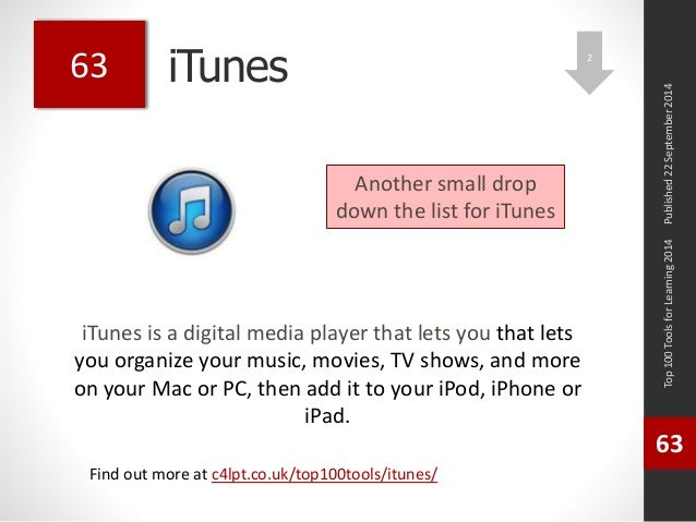 iTunes  Top 100 Tools for Learning 2014  63  Find out more at c4lpt.co.uk/top100tools/itunes/  63  Another small drop  dow...
