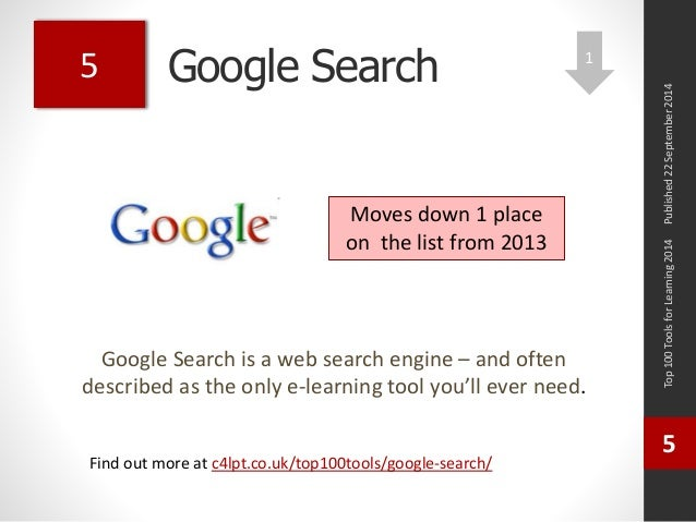 Google Search  Google Search is a web search engine – and often  described as the only e-learning tool you'll ever need.  ...