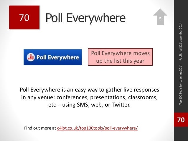Poll Everywhere  Poll Everywhere is an easy way to gather live responses  in any venue: conferences, presentations, classr...